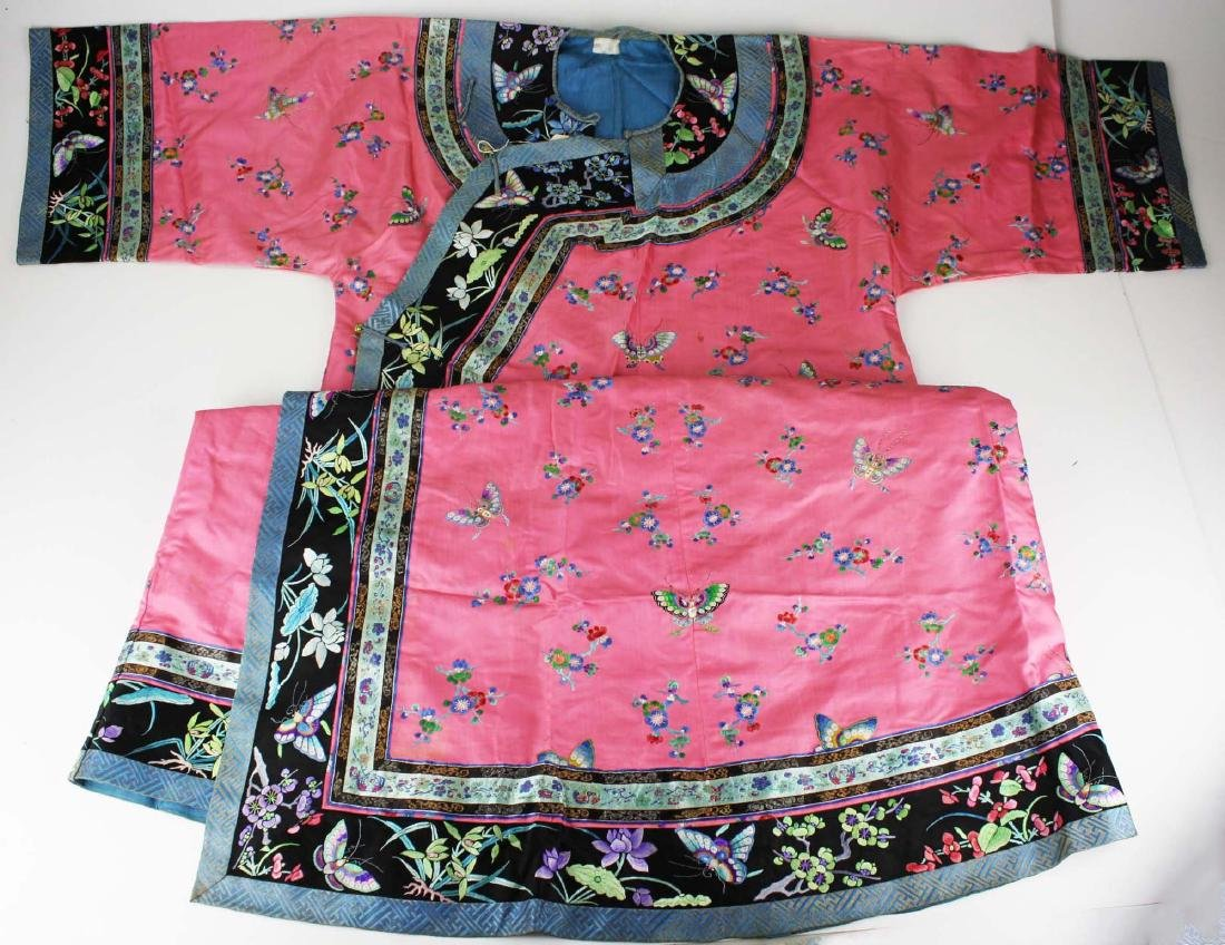 19th c Chinese embroidered pink silk robe.