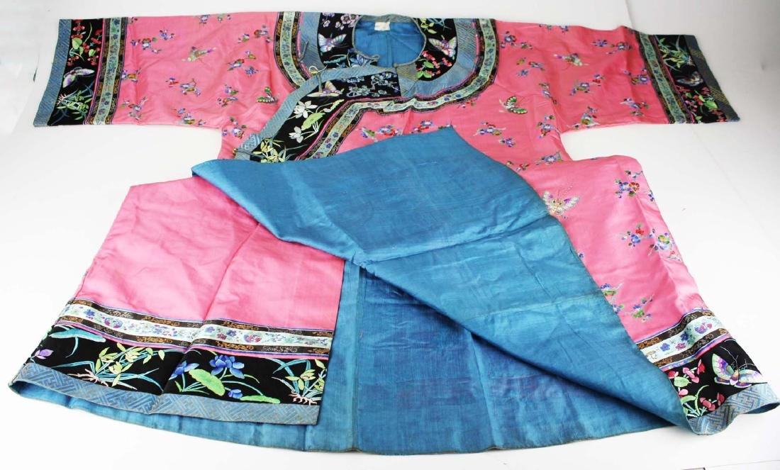 19th c Chinese embroidered pink silk robe. - 2