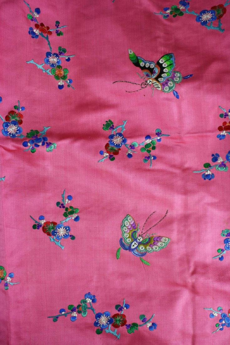 19th c Chinese embroidered pink silk robe. - 6