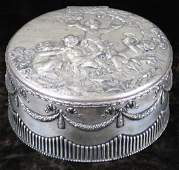 French silver large round dresser box or jewel casket