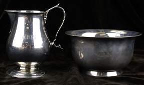 Tiffany & Co. sterling silver creamer and open sugar