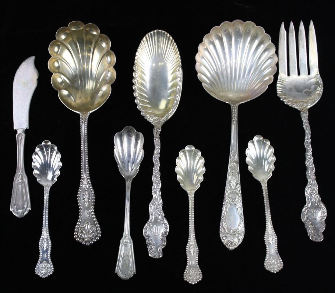 Nine Sterling serving pieces