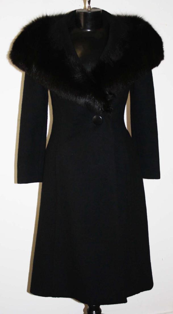 Mid 20th c Pauline Trigère ladies wool coat w/fur