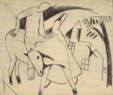 24:Bela Kadar ( Hungarian ,1877-1956) Couple with Horse