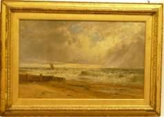 Gustave De Breanski, 19th century Oil on Canvas beach