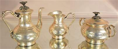 French Three Piece Christofle Tea Set