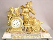 French Louis XVI Style Figural Mantel Clock with statue