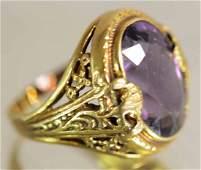 Ladies 14K Gold Amethyst Ring