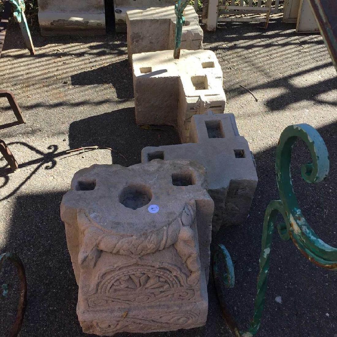 Three Limestone Corner Bracket Pillar Bases