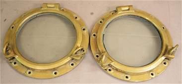 Two Vintage Brass Ships Portholes