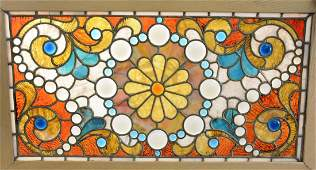 Victorian Style Stained & Jeweled Glass Window