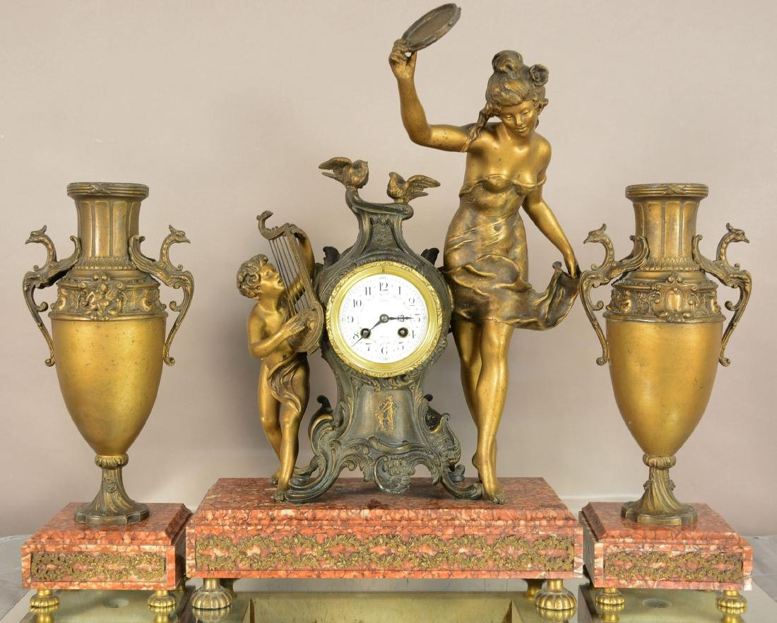 French LXVI Style 3-Piece Figural Clock Set