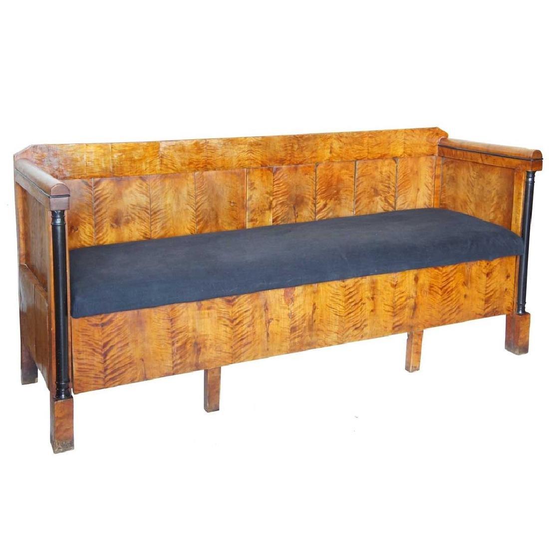 Swedish Karl Johan Flame Birch Lift-Seat Sofa