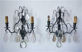 Pair of French Louis XV Style Brass and Crystal Sconces