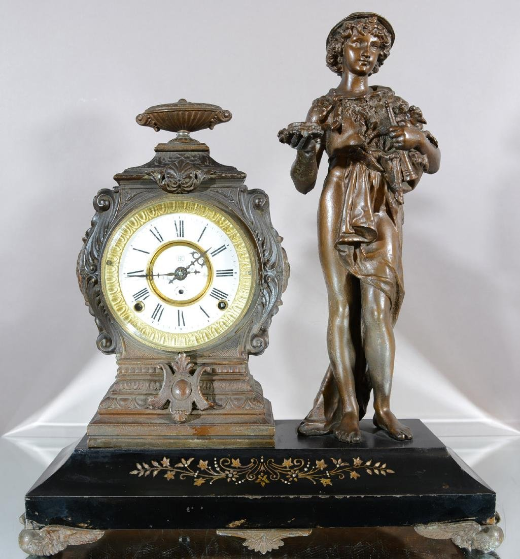 F. Krober Figural Mantel Clock
