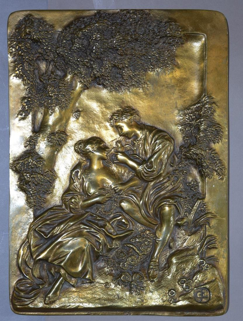 French Louis XV Style Scenic Romatic Bronze Panel