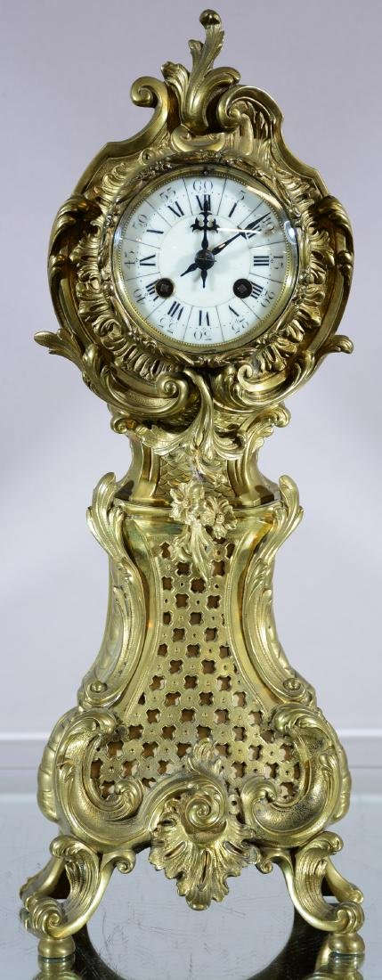 French Louis XV Style Bronze Mantel Clock