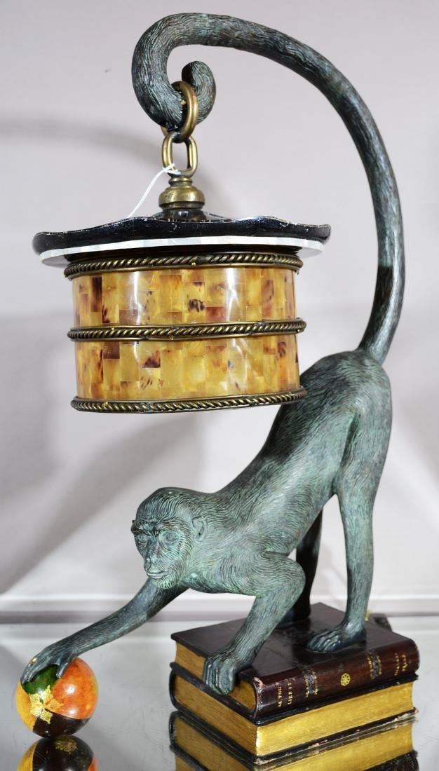 Bronze Monkey Lamp with Shade