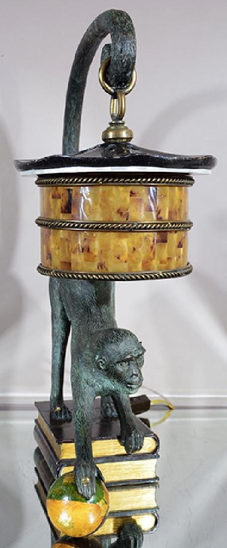Bronze Monkey Lamp with Shade - 2