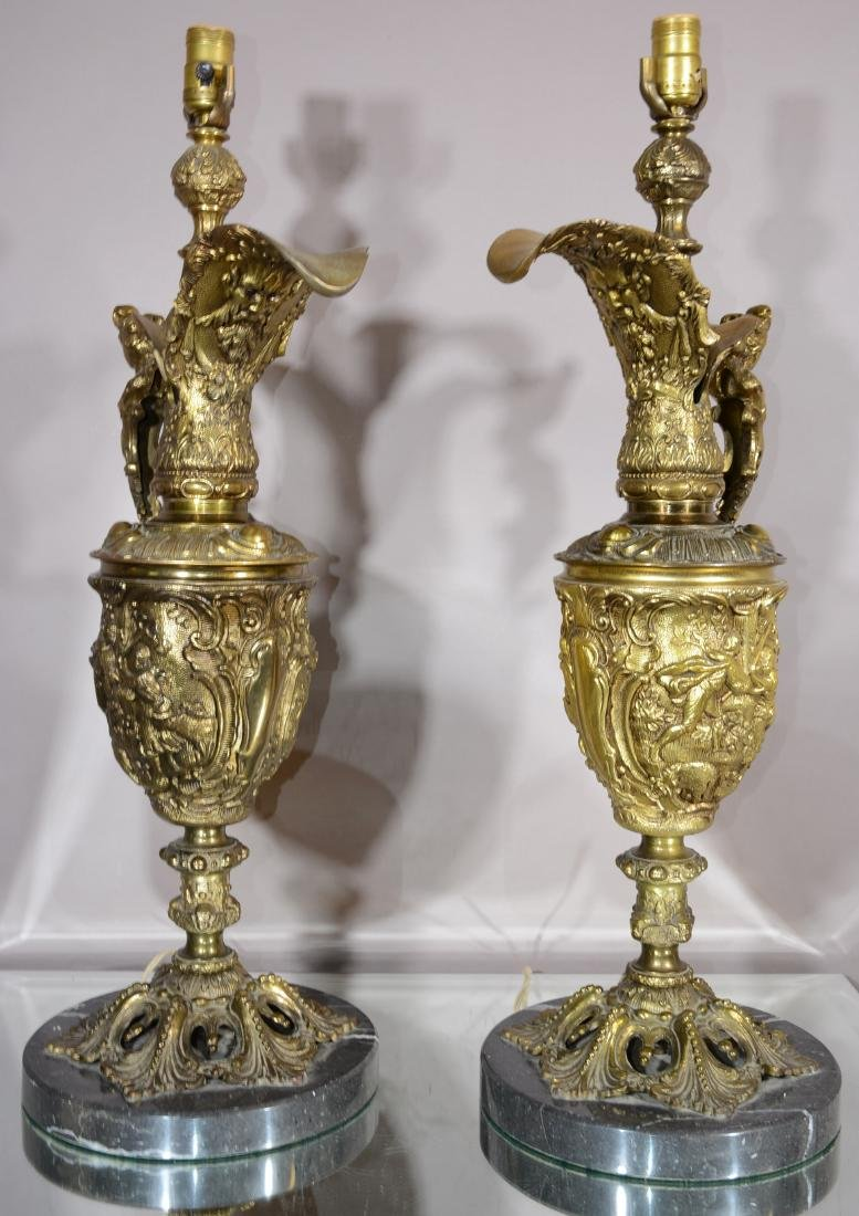 Pair of Italian Bronze Urns on Marble Base