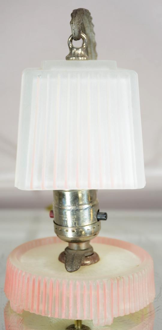 Art Deco Style Pink Satin Glass Desk Lamp