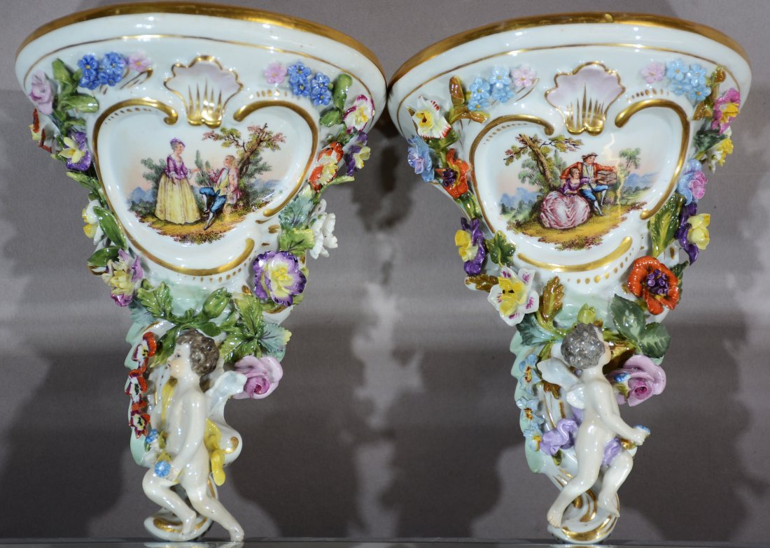 Pair of Royal Vienna Porcelain Shelves