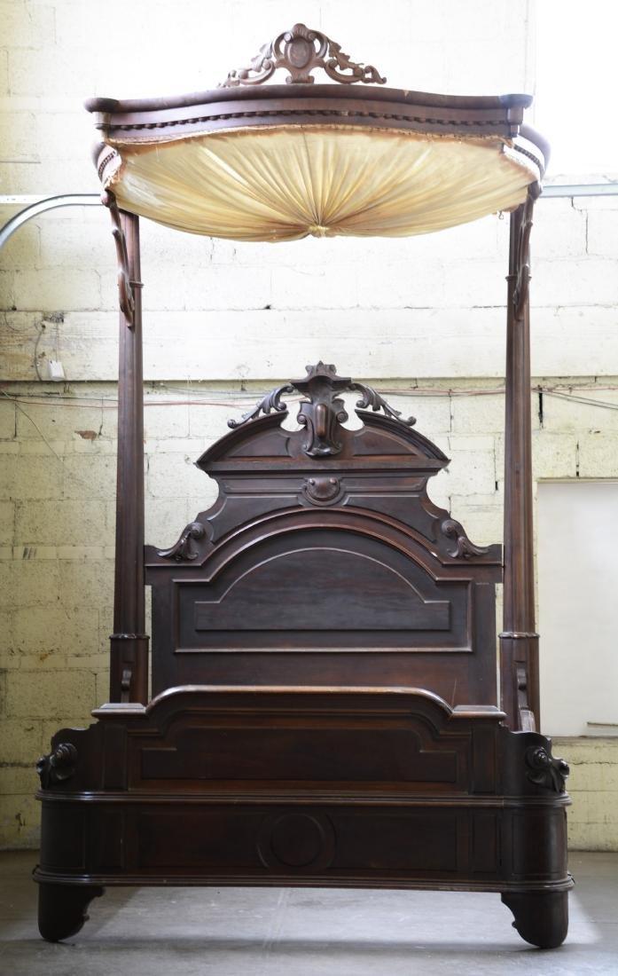 Rare Prudent Mallard Walnut Half Tester Bed