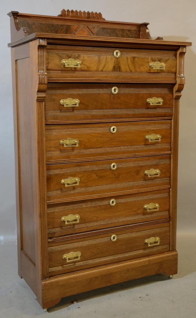 American Eastlake Style Walnut Tall Chest