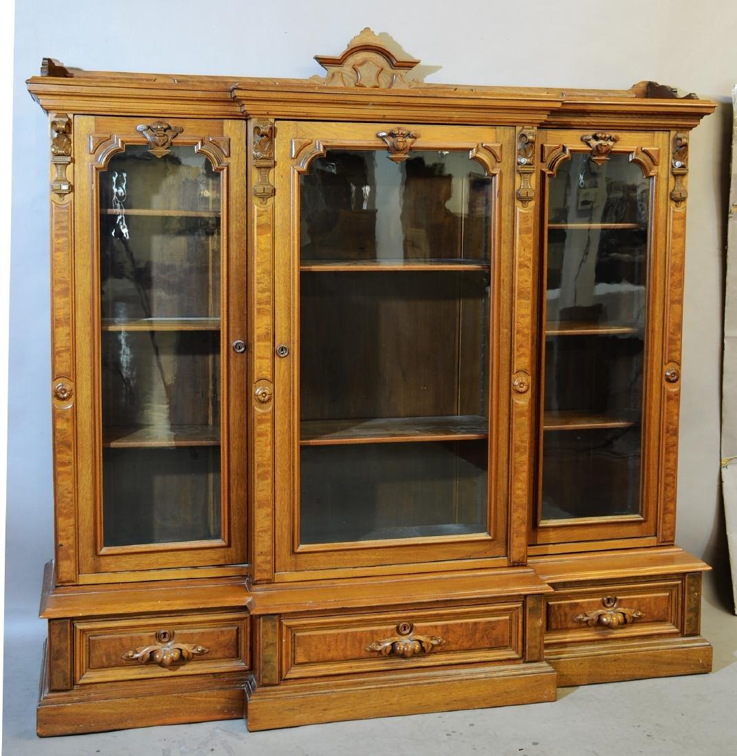 American Walnut Renaissance Style Bookcase