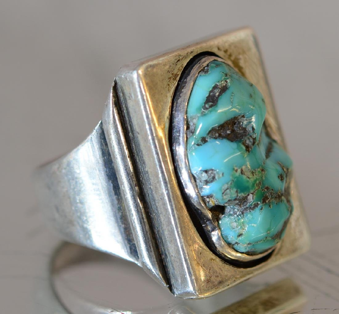 Navajo Indian Mans Sterling & Turquoise Ring
