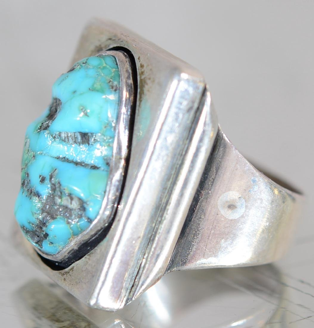 Navajo Indian Mans Sterling & Turquoise Ring - 2