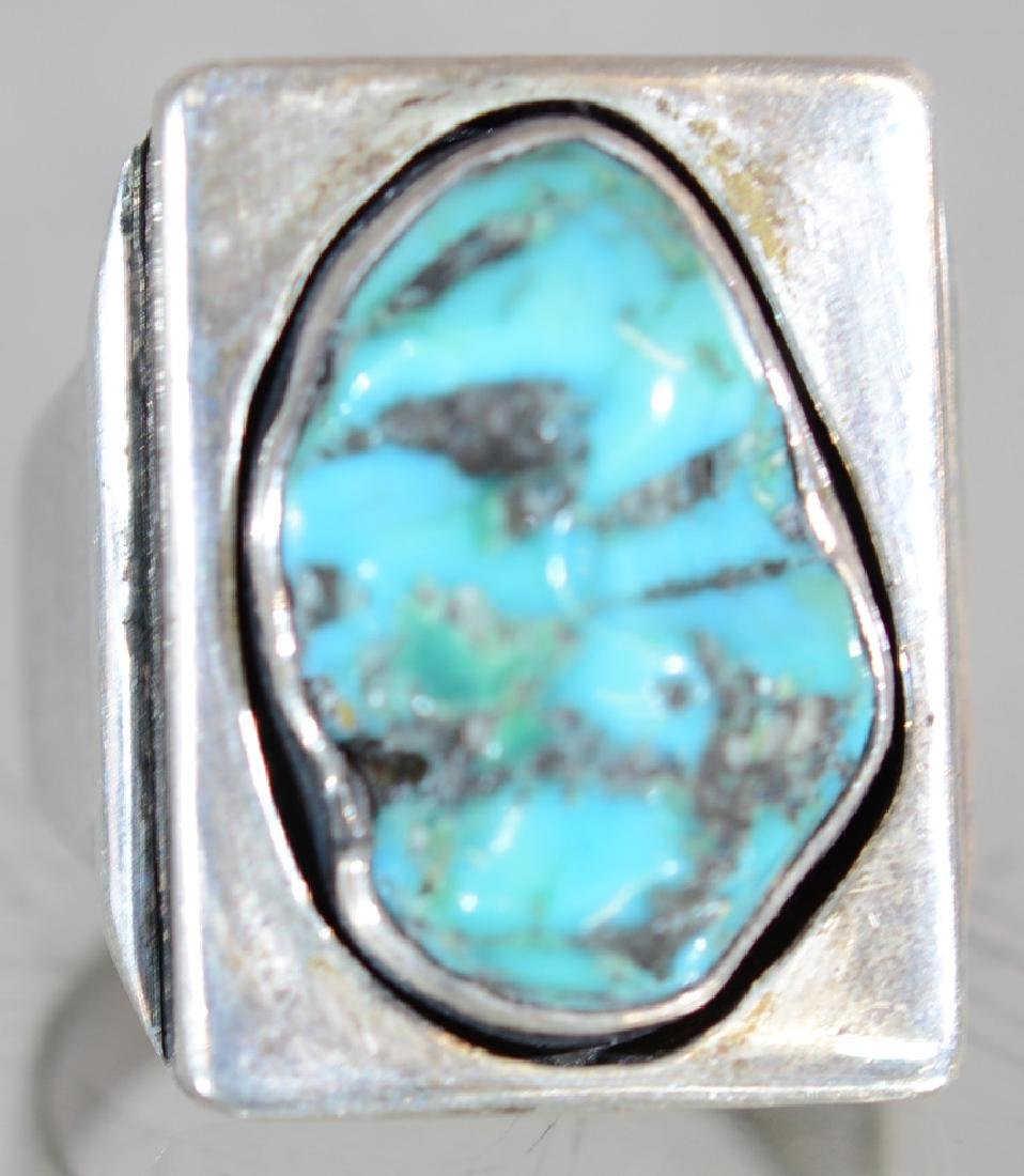 Navajo Indian Mans Sterling & Turquoise Ring - 3