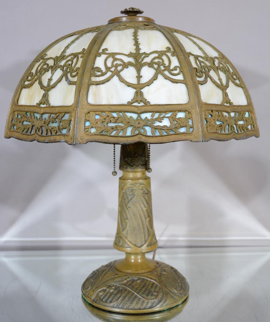 1920's Art Nouveau Style Overlay Eight Panel Lamp