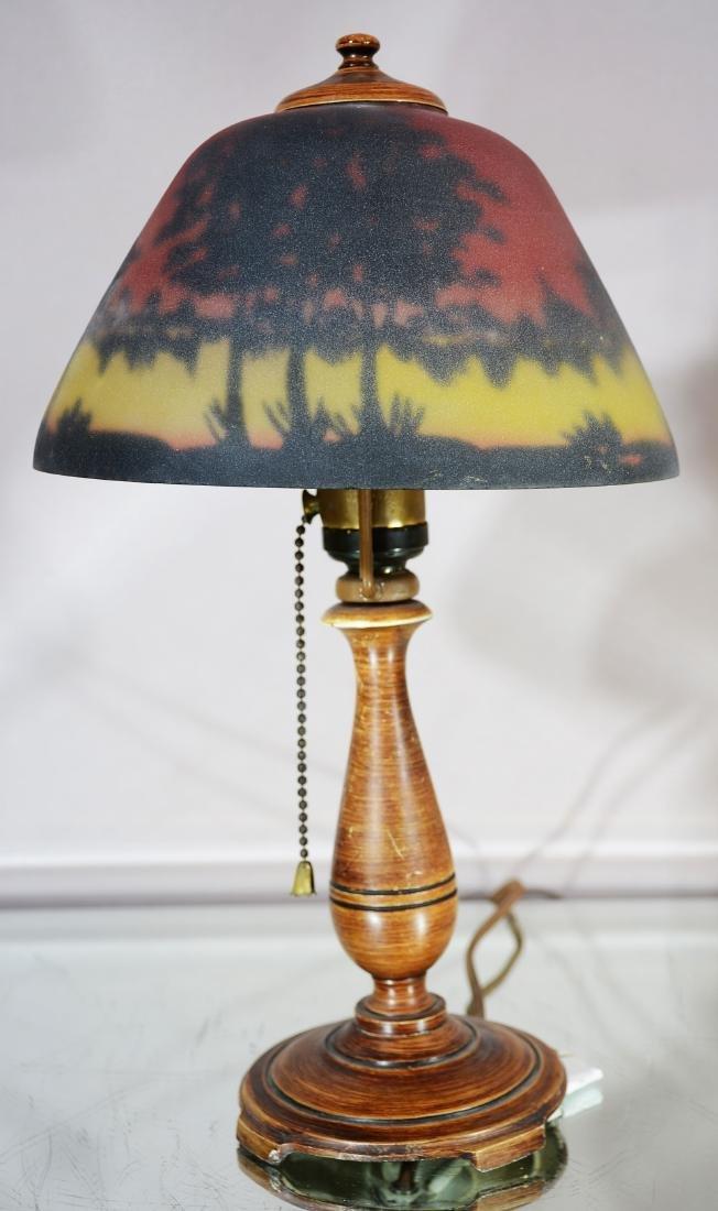 Moe Bridges Art Nouveau Style Cut Glass Lamp