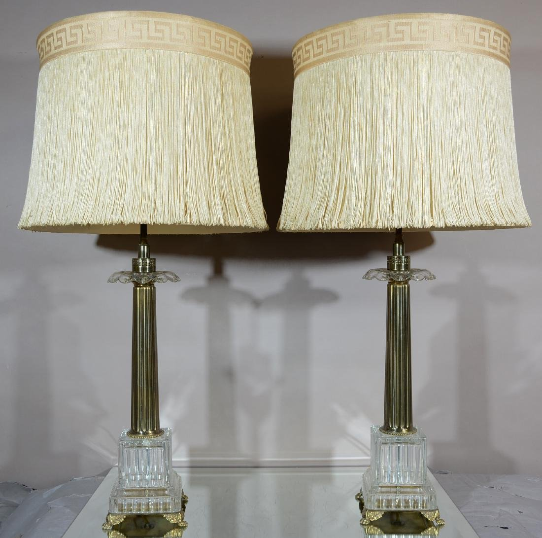 Pr. of Art Deco Style Brass & Crystal Parlor Lamps
