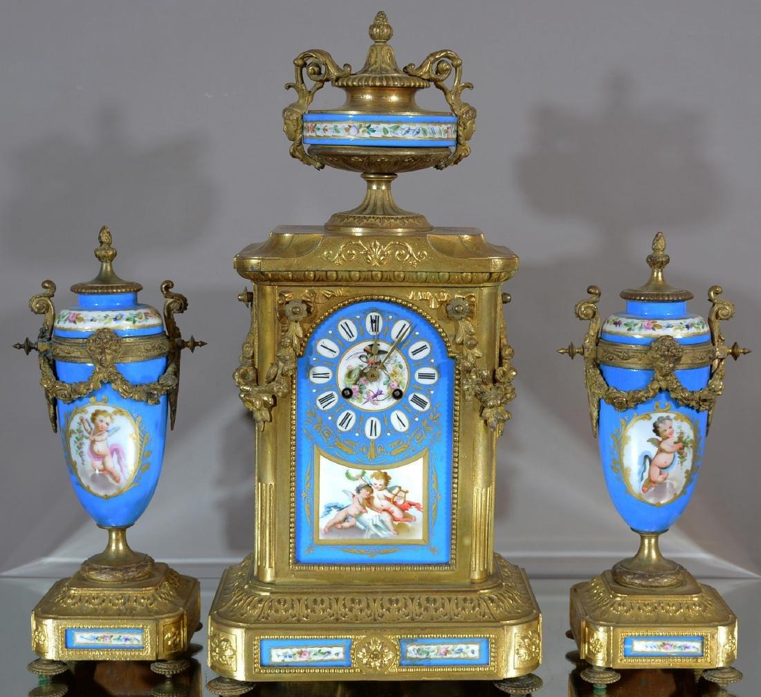 French Serves Louis XVI Style 3 Piece Clock Set