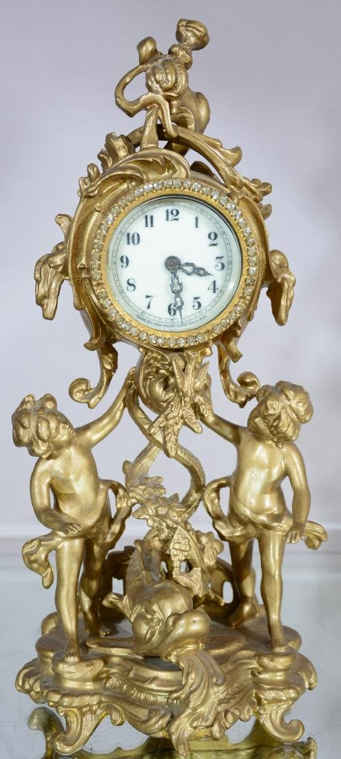French Louis XV Style Gilded Novelty Clock