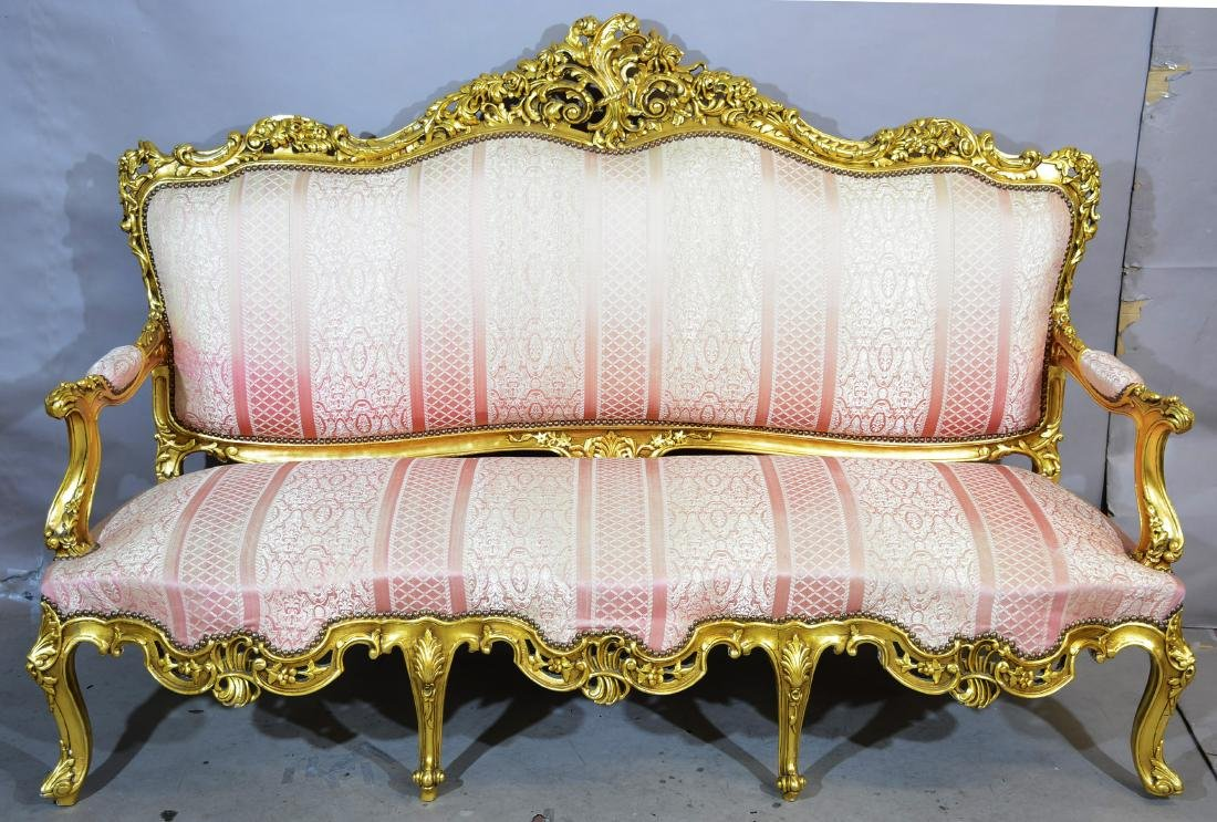 French Louis XV Style Hand Carved Gildtwood Sofa