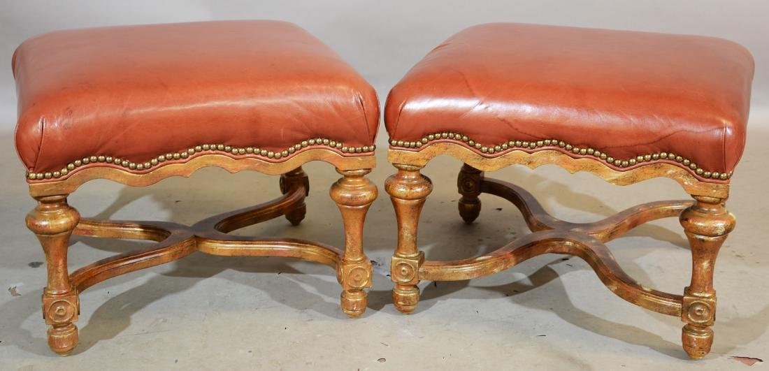 Pair of William and Mary Style Leather Top Ottoman