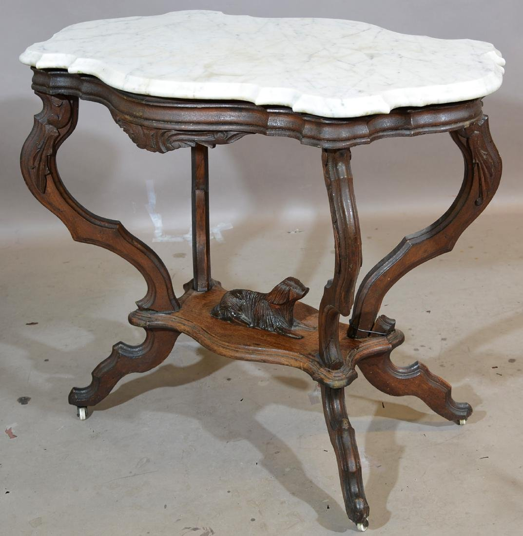 American Rococo Style Walnut Parlor Table