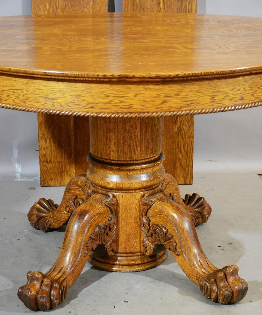 Turn of the Century Round Oak Dinning Table - 2