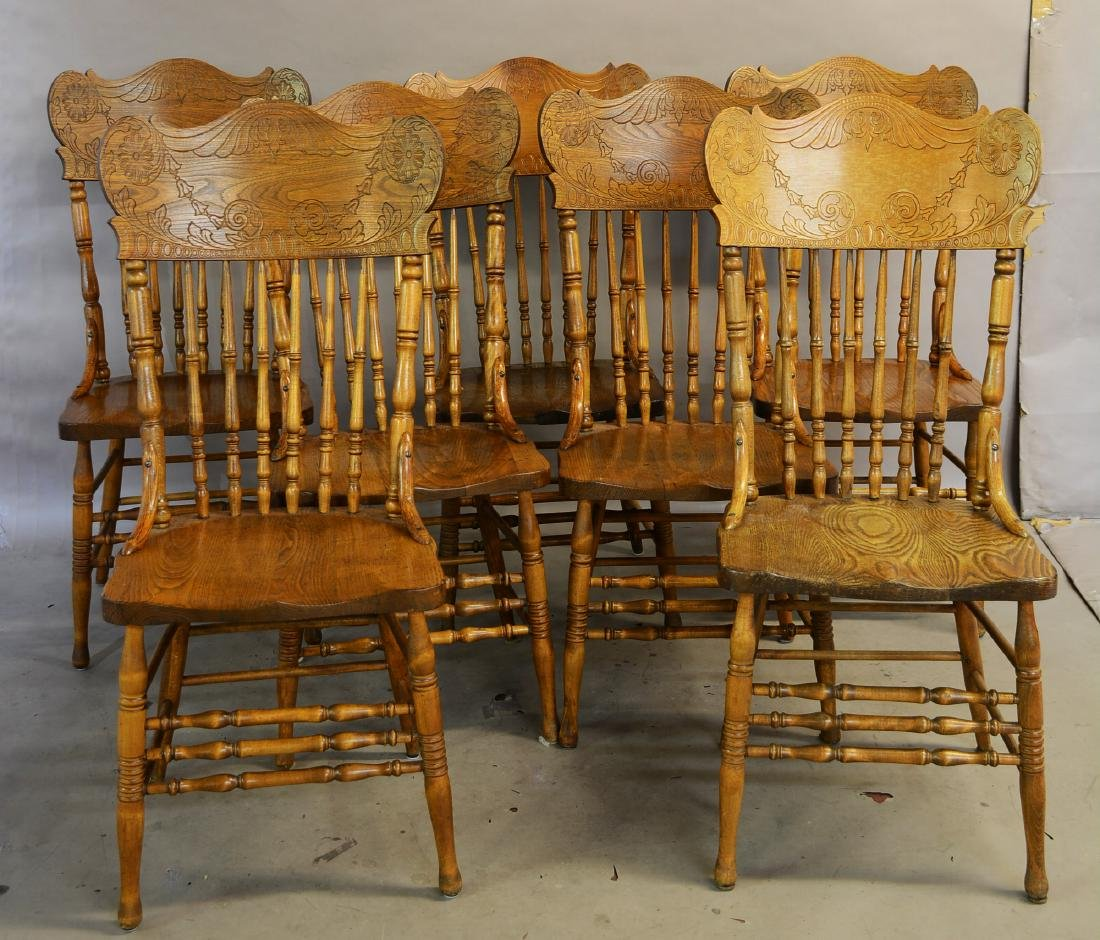 Set of 7 Turn of the Century  Dnning Room Chairs