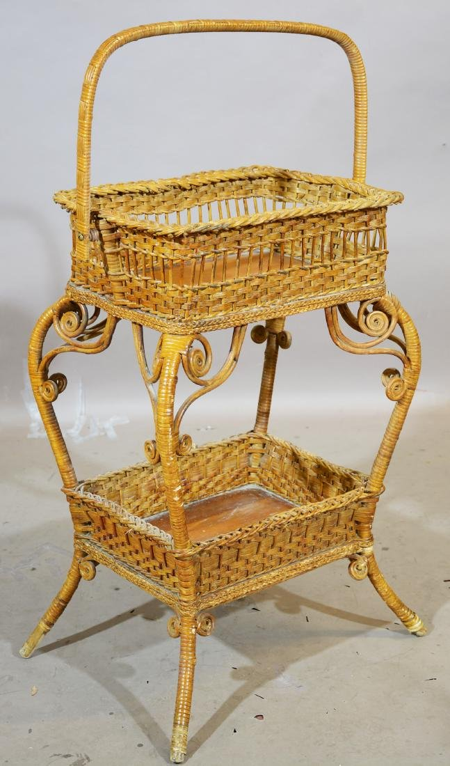 American Wicker Sewing Stand with Handle