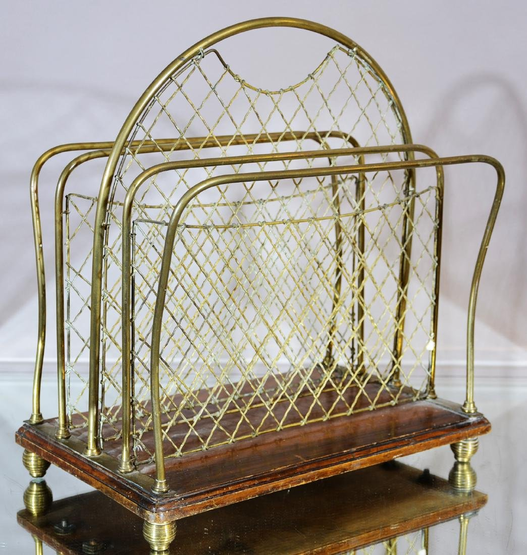 French Art Deco Style Brass & Wire Magazine Stand