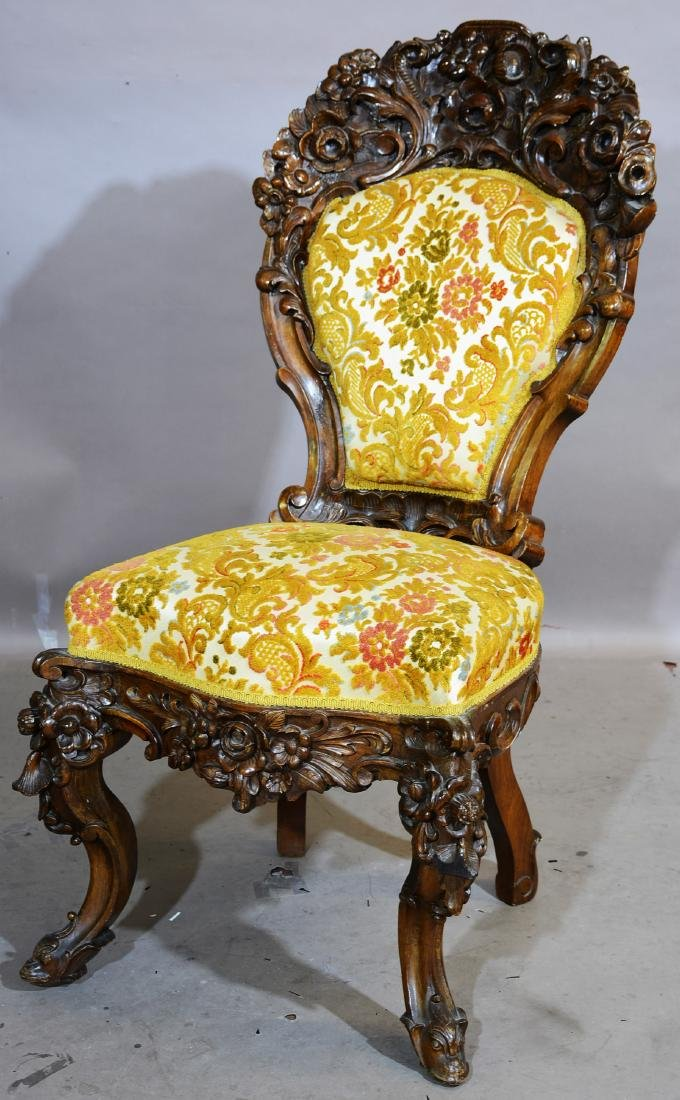 Rococo Style Rosewood Parlor Chair