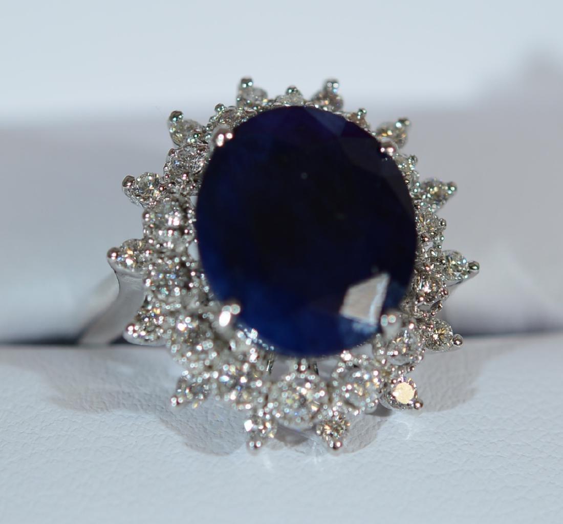 Ladies 14K Gold Saphire & Diamond Dinner Ring