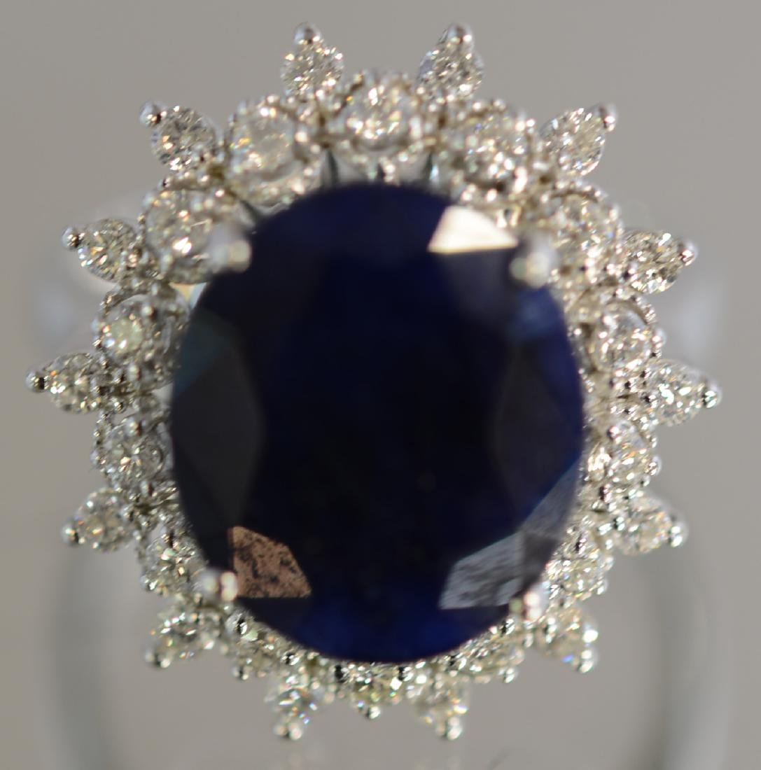 Ladies 14K Gold Saphire & Diamond Dinner Ring - 3