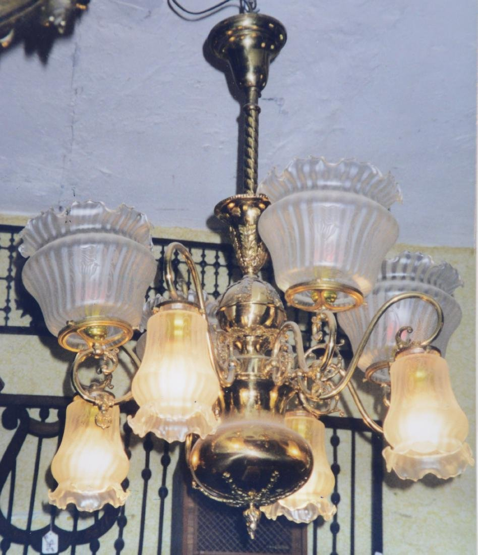 Rare 8 Arm Gas & Electric Victorian Chandelier