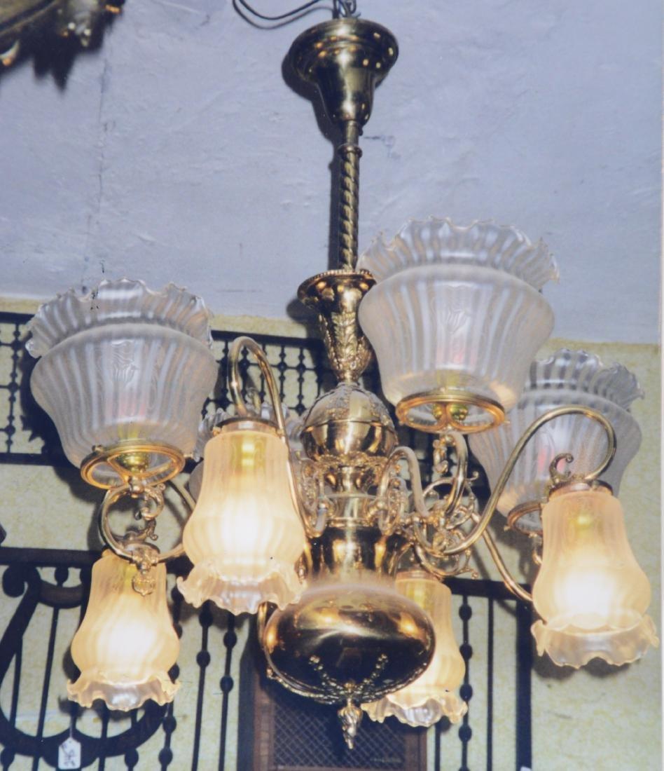 Rare 8 Arm Gas & Electric Victorian Chandelier