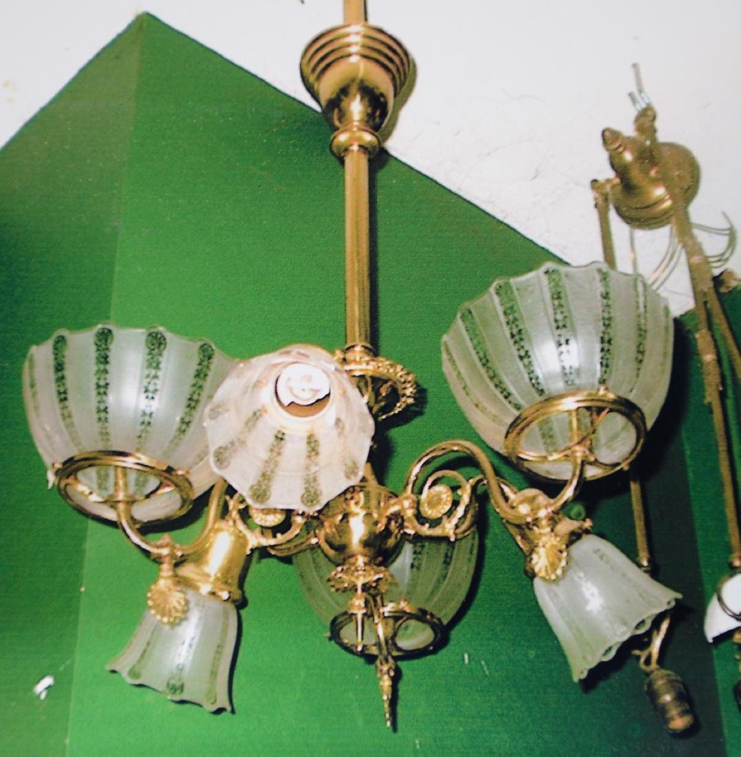 Six Arm Gas & Electric Brass Chandelier
